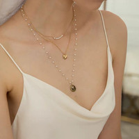 Baby Pearls Snake Chain Choker Necklace