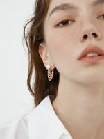 Laila White Pearl Stud Gold Chain Earrings