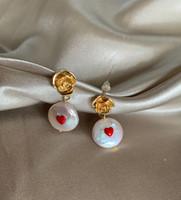 Red Heart Embedded Baroque Pearl Earrings