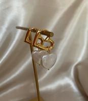 Double Heart Gold Hoops