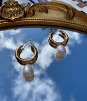 Pearl on Chunky Gold Hoops