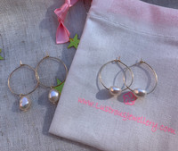 Baroque Pearl Drop on Gold Hoops