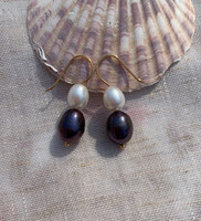The Fifty Fifty Black & White Pearl Earrings, Gold Filled