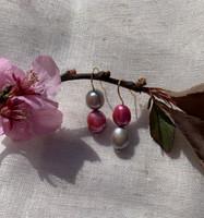 Pink & Grey Gold Baroque Pearl Earrings
