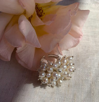 White Pearl Clustered Ring, Sterling Silver