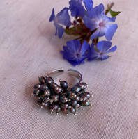Peacock Black Pearl Cluster Ring, Sterling Silver