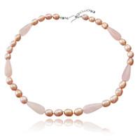 Pink Pearl Necklace with Rose Quartz Drop Pendant