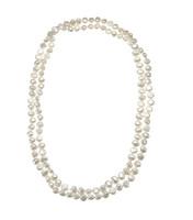 Zara White Baroque Pearl Long Necklace & Bracelet in One