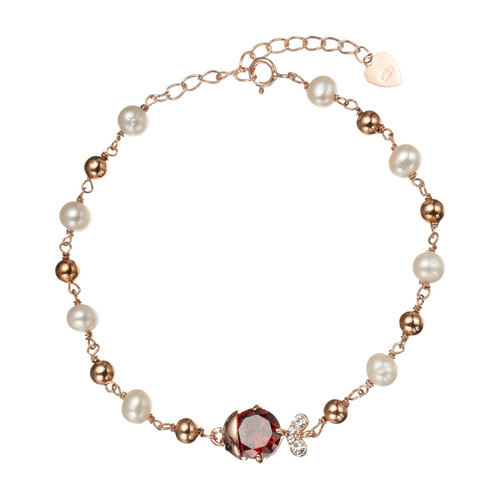 White Pearl 24ct. Rose Gold Bracelet with Red Ruby