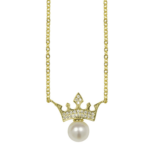 Gold Crown with White Pearl Pendant Necklace
