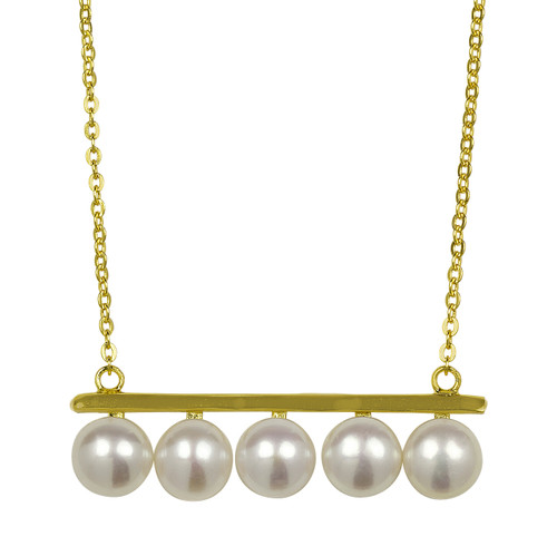 balancing white pearls pendant necklace