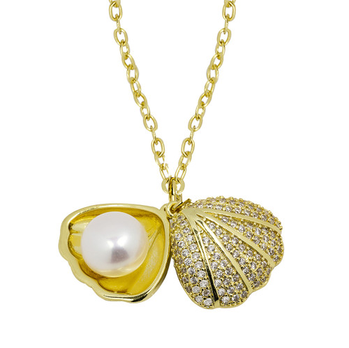 White Cultured Pearl in Shell Pendant Necklace, Yellow Gold