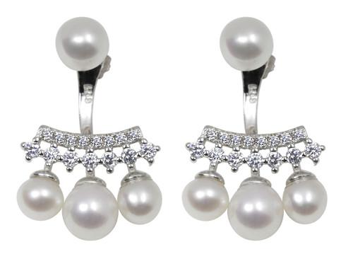 Pearl Zirconia Ear Jacket Earrings, Sterling Silver