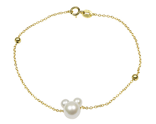 Minnie Mouse White Pearl Bracelet in 18ct. Gold Plated Silver