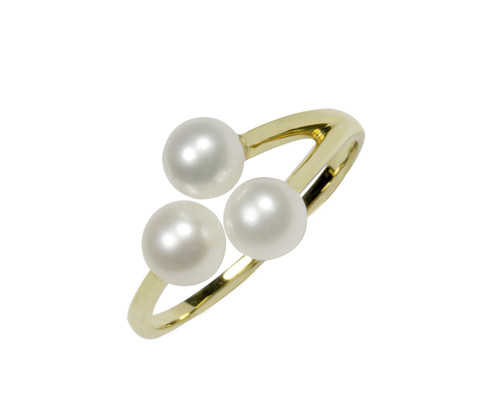 9ct Yellow Gold Triple White Pearl Adjustable Ring
