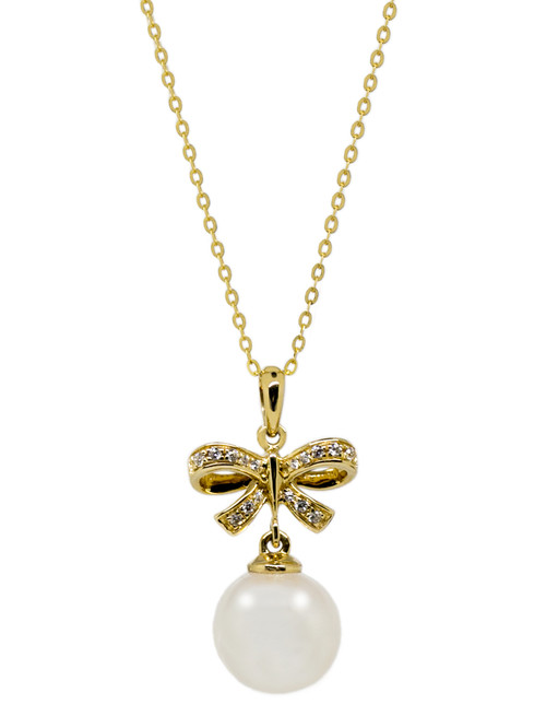 18ct Yellow Gold Bow and White Round Pearl Pendant Necklace