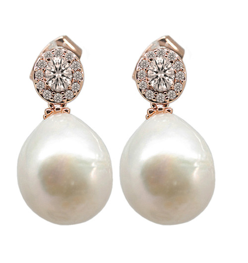 White Baroque Pearl Rose Gold Drop Earrings with Swarovski Crystal