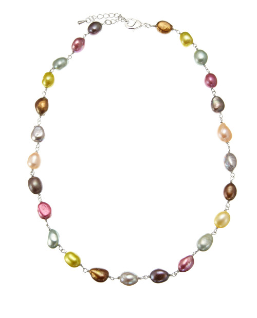 Rainbow Coloured Baroque Pearl Necklace on Chain
