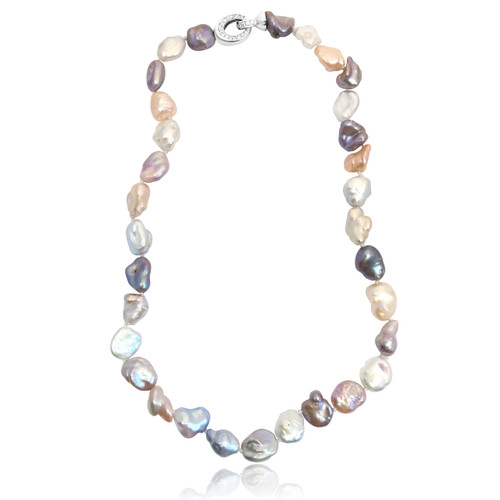 Multicolour Keshi Pearl Regular Necklace with Sterling Silver Clasp