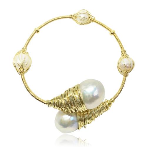 Encased Baroque Pearls Gold Bangle