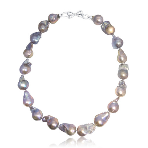 Lilac Fireball Pearl Necklace