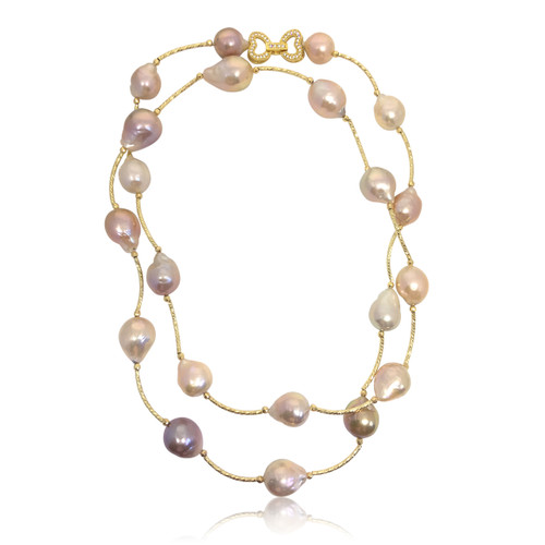 Multicolour Baroque Pearl Long Necklace