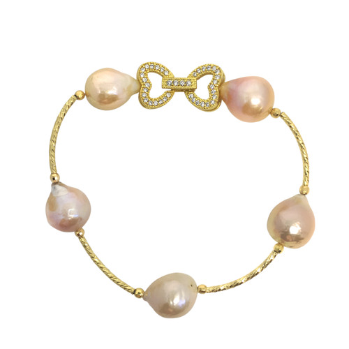 Lustrous Rainbow Baroque Pearl Bracelet with Dual Heart Buckle, Pastel Peach