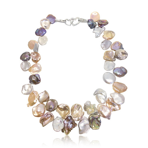 Multicolour Petal Keshi Pearl Necklace