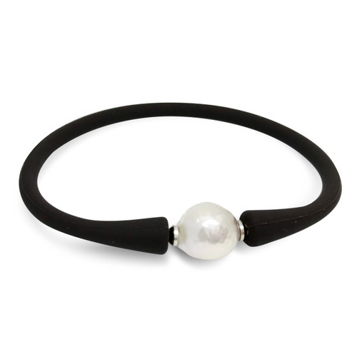 Lustrous 'Silvery White' Baroque Pearl on Leatherette Bracelet