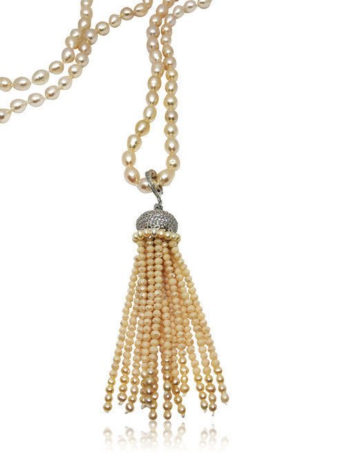 Peach Pearl Long Necklace with Detachable  Multifaceted Crystal Tassel