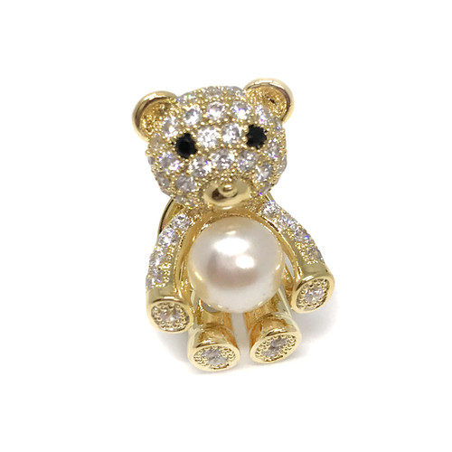 Cute Teddy Bear White Pearl Brooch