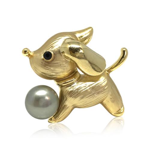 Cute Dog Chasing Silver Grey Pearl Brooch