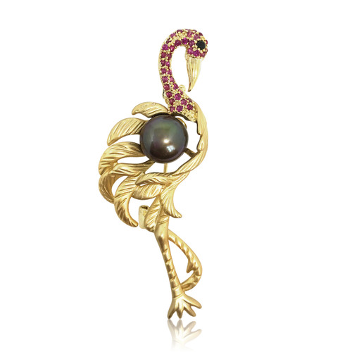 Pink Gemmed  Flamingo and Peacock Black Pearl Brooch