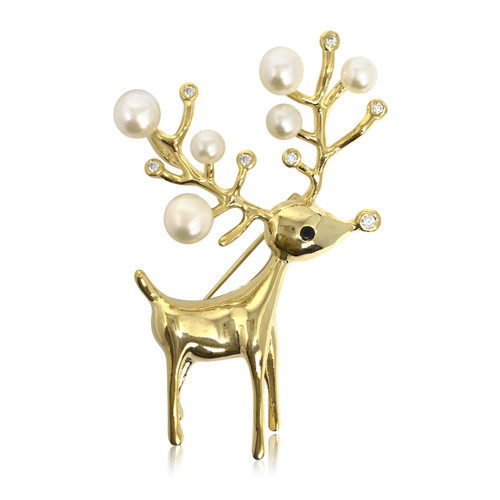 Deer and White Pearls Brooch