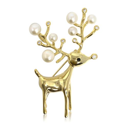 Deer and White Pearls Brooch