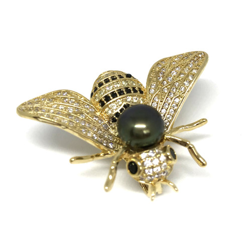 Bee and Peacock Pearl Brooch