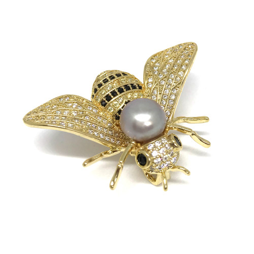 Bumble Bee and Pink Pearl Brooch