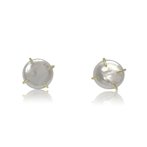 White Coin Pearl Earrings in 18ct Yellow Gold Plated Sterling Silver