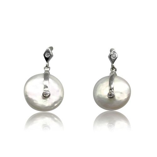 White Coin Pearl Drop Earrings in Sterling Silver