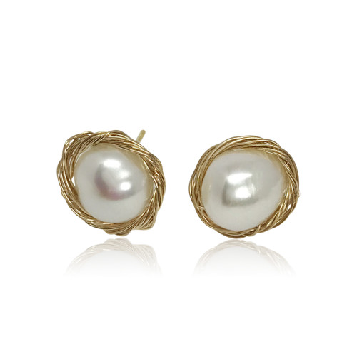 White Baroque Pearl Gold Filled Wire Wrapped Stud Earrings