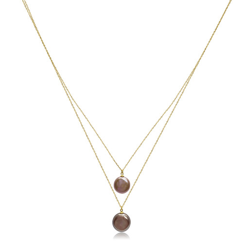 Double 'Lustrous Rainbow' Coin Pearls Necklace, Yellow Gold