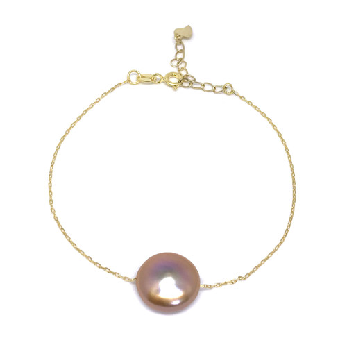 Lustrous Rainbow Coin Pearl Gold Bracelet