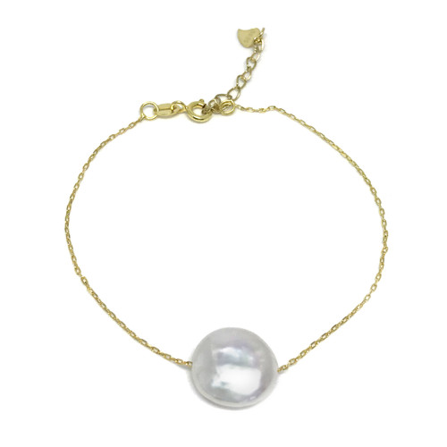 White Coin Pearl Floating Gold Bracelet, Gold Vermeil