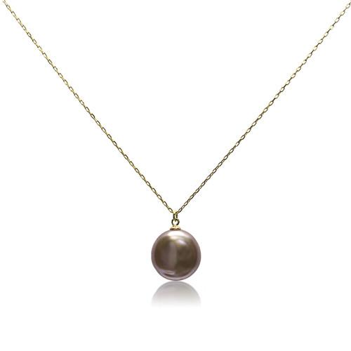 Lustrous Violet Coin Pearl Pendant Necklace