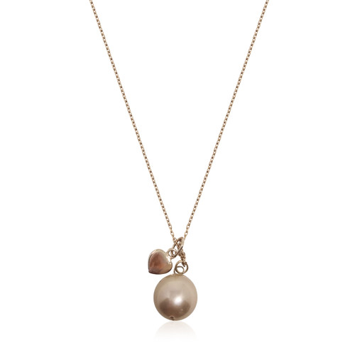 Lustrous Rose Pearl and Rose Gold Heart Pendant Necklace
