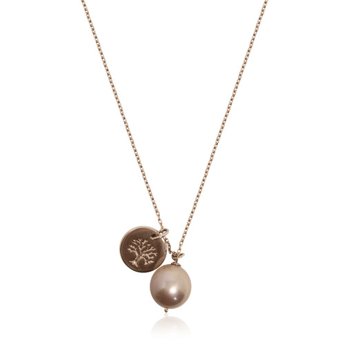 Lustrous Rose Pearl Pendant with Tree of Life Coin Charm