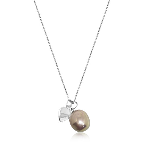 Lustrous Rainbow  Baroque Pearl with Heart Pendant Sterling Silver Necklace