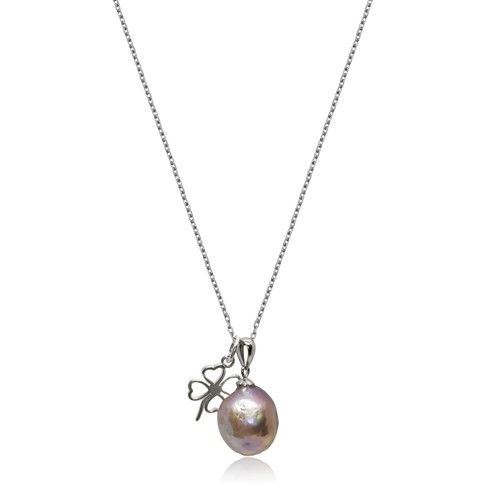 Lustrous Rainbow Baroque Pearl with Four Clover Leaf Sterling Silver Necklace
