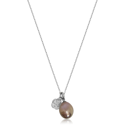 Lustrous Rainbow Baroque Pearl with Sterling Silver 3D Lotus Flower Necklace