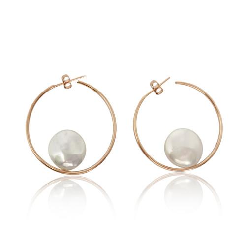 White Coin Pearls Hoop Earrings, Rose Gold